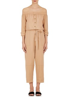 Robert Rodriguez Women's Cotton-Linen Twill Off-The-Shoulder Jumpsuit