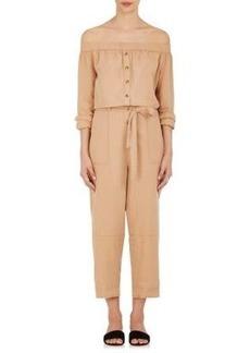 Robert Rodriguez Women's Cotton-Linen Twill Off-The-Shoulder Jumpsuit