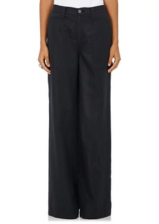 Robert Rodriguez Women's Cotton-Linen Twill Wide-Leg Trousers