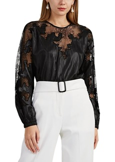 Robert Rodriguez Women's Lace-Inset Crinkled Satin Blouse