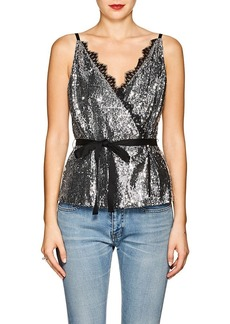 Robert Rodriguez Women's Lace-Trimmed Sequined Wrap-Front Cami