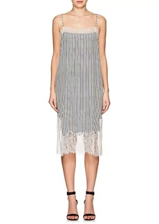 Robert Rodriguez Women's Lace-Trimmed Striped Crepe Dress