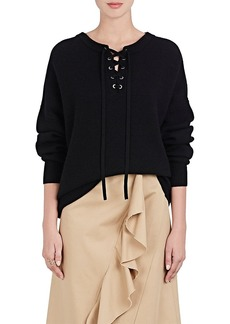 Robert Rodriguez Women's Merino Wool-Cashmere Lace-Up Oversized Sweater