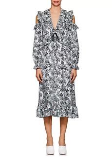 Robert Rodriguez Women's Orchid-Print Ruffled Silk Twill Dress