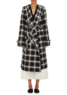 Robert Rodriguez Women's Plaid Herringbone-Weave Cotton Belted Wrap Coat