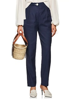 Robert Rodriguez Women's Pleated-Front Stretch Linen-Cotton Pants