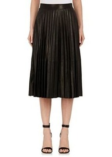 Robert Rodriguez Women's Pleated Leather Midi-Skirt
