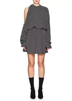 Robert Rodriguez Women's Star-Print Silk Long-Sleeve Dress