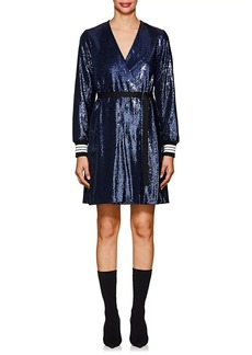 Robert Rodriguez Women's Striped-Cuff Belted Sequin Dress