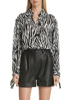 Robert Rodriguez Zebra Print Tie Cuff Blouse