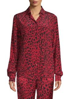 Robert Rodriguez Silk Leopard Print Shirt