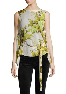Robert Rodriguez Sleeveless Floral Top W/ Back Drape