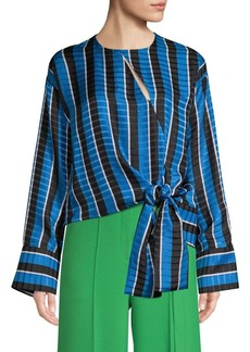 Robert Rodriguez Tie Hem Striped Blouse