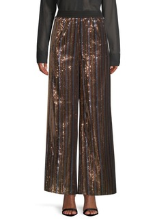 Robert Rodriguez Wide-Leg Sequin Striped Pants
