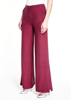 Robert Rodriguez Wide-Leg Silk Pants w/ Slit Detail