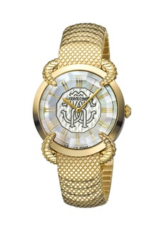 Roberto Cavalli 34mm Snake Watch w/ Bracelet Strap  Gold