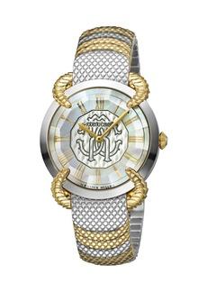 Roberto Cavalli 34mm Snake Watch w/ Bracelet Strap  Gold/Steel