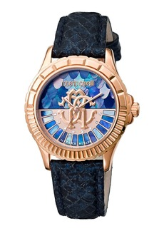 Roberto Cavalli 35mm Logo Dial Rose Golden Watch w/ Leather Strap