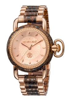 Roberto Cavalli 36mm Moving Crown Watch w/ Bracelet Strap  Rose