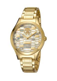 Roberto Cavalli 36mm Scaly Watch w/ Bracelet Strap  Gold