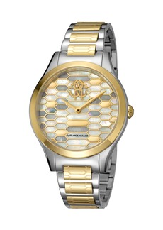 Roberto Cavalli 36mm Scaly Watch w/ Bracelet Strap  Gold/Steel
