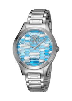 Roberto Cavalli 36mm Scaly Watch w/ Bracelet Strap  Steel/Blue