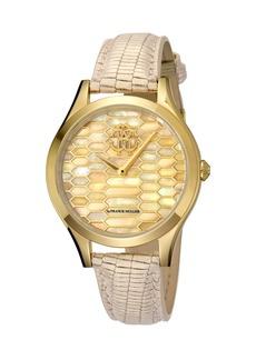 Roberto Cavalli 36mm Scaly Watch w/ Leather Strap  Beige/Gold