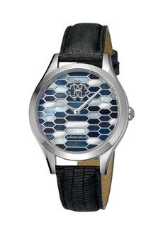 Roberto Cavalli 36mm Scaly Watch w/ Leather Strap  Black/Steel