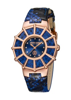 Roberto Cavalli 37.5mm Watch w/ Embossed Leather Strap  Blue/Rose