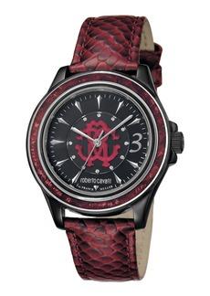 Roberto Cavalli 37mm Black Stainless Steel Watch w/ Calfskin Leather Strap