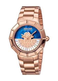Roberto Cavalli 37mm Bracelet Watch w/ Rotating Diamond Dial  Blue