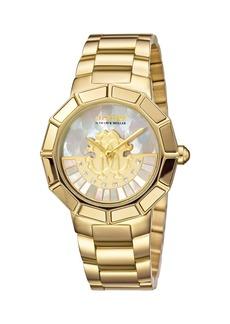 Roberto Cavalli 37mm Bracelet Watch w/ Rotating Diamond Dial  Gold/White