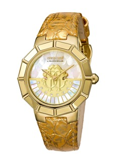 Roberto Cavalli 37mm Leather Watch w/ Rotating Diamond Dial  Gold/White