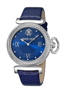 Roberto Cavalli 38mm Classic Leather Watch  Blue