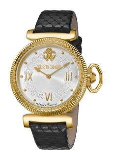 Roberto Cavalli 38mm Classic Leather Watch  Gold/Black