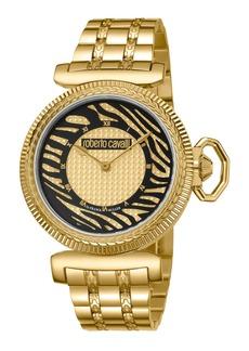 Roberto Cavalli 38mm Zebra Bracelet Watch  Black/Gold