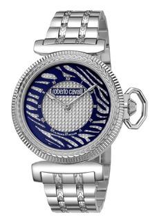 Roberto Cavalli 38mm Zebra Bracelet Watch  Blue/Silver
