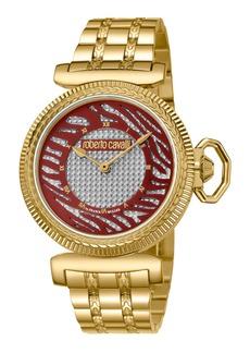 Roberto Cavalli 38mm Zebra Bracelet Watch  Burgundy/Gold