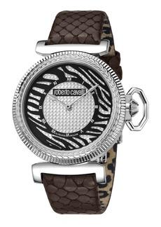 Roberto Cavalli 38mm Zebra Leather Watch  Brown/Silver