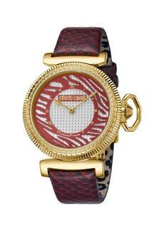 Roberto Cavalli 38mm Zebra Leather Watch  Burgundy/Gold