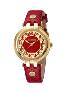 Roberto Cavalli 40mm Contrast Logo Watch w/ Leather Strap  Gold/Red