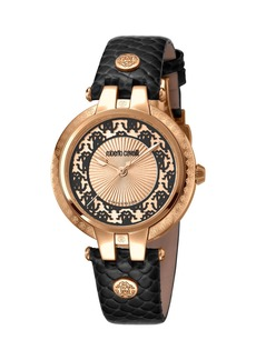 Roberto Cavalli 40mm Contrast Logo Watch w/ Leather Strap  Rose/Black