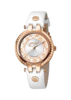 Roberto Cavalli 40mm Contrast Logo Watch w/ Leather Strap  Rose/White