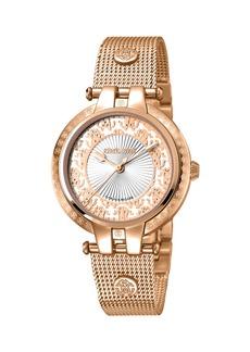 Roberto Cavalli 40mm Contrast Logo Watch w/ Mesh Bracelet  Rose/White