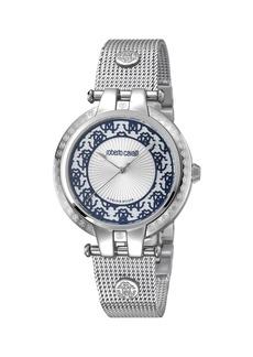 Roberto Cavalli 40mm Contrast Logo Watch w/ Mesh Bracelet  Steel/Black