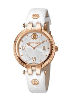 Roberto Cavalli 40mm Logo-Bezel Watch w/ Leather Strap  Rose/White