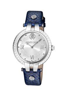 Roberto Cavalli 40mm Logo Watch w/ Leather Strap  Steel/Blue