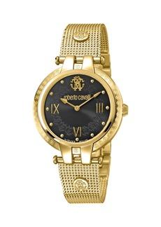 Roberto Cavalli 40mm Logo Watch w/ Mesh Bracelet  Gold/Black