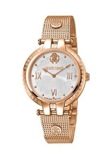 Roberto Cavalli 40mm Logo Watch w/ Mesh Bracelet  Rose/Silver