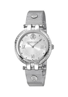 Roberto Cavalli 40mm Logo Watch w/ Mesh Bracelet  Steel